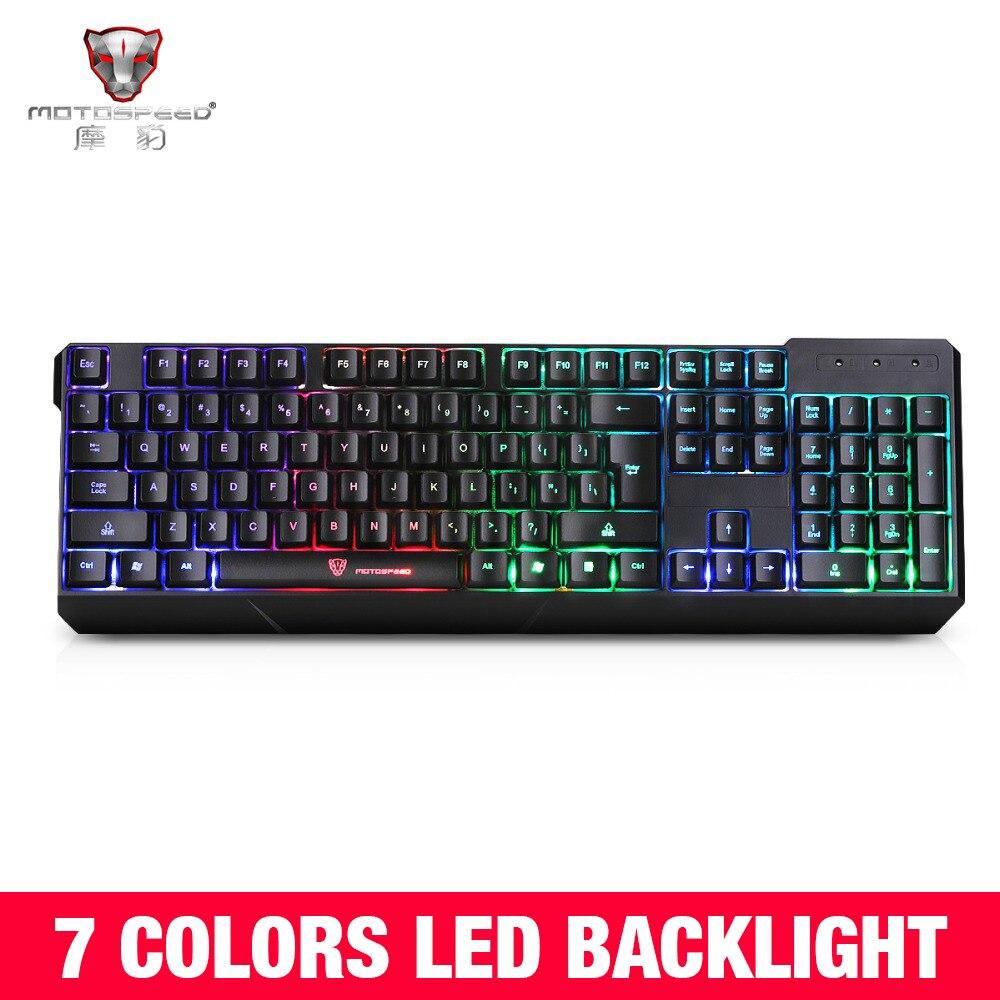 Original MotoSpeed K70 7-Color Colorful Backlight Computer Gaming Keyboard Teclado USB Powered For Desktop Laptop Black