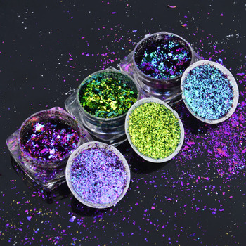 1 Box Chameleon Nail Sequins Glitter Holographic Powder Dust Dazzling Transparent Manicure Nail Art Glitter Sheet Decorations недорого