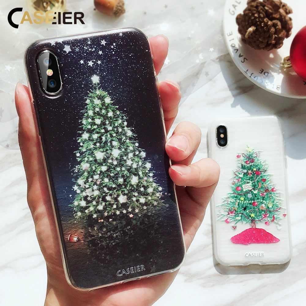 CASEIER عيد الميلاد حقيبة لهاتف أي فون 6 6s 7 8 Plus لينة بولي TPU ثلاثية الأبعاد السنة الجديدة خزائن هاتف آيفون X 10 5 5s SE 11 برو ماكس غطاء Conque Shell
