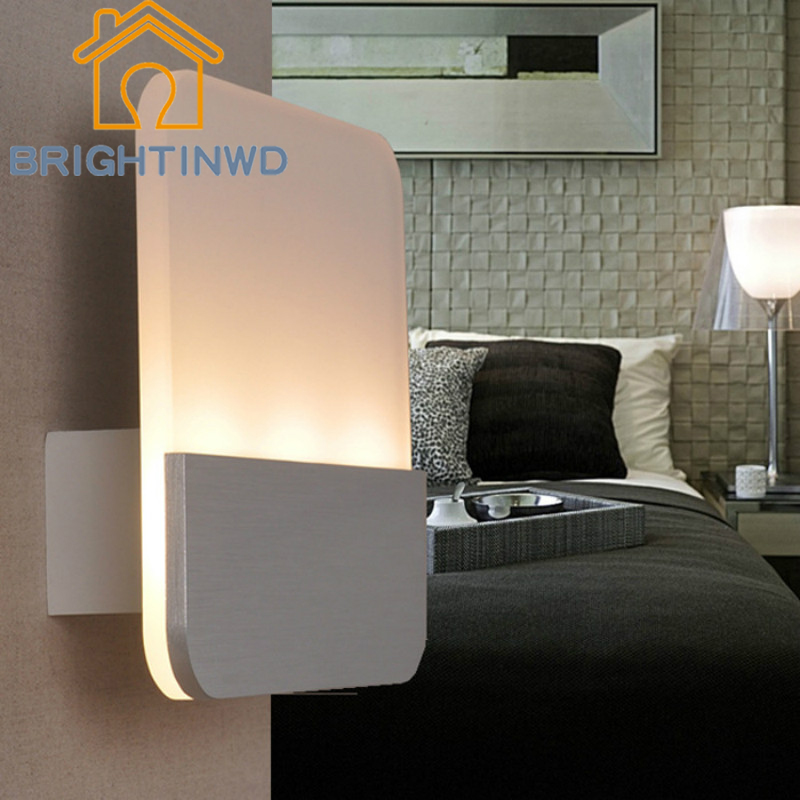 BRIGHTINWD 9W Modern Simple LED Wall Lamp Bedside Lamp Living Room Bedroom Aisle Energy-saving Lamp Acrylic Square Lamp m 2016 newest led acrylic wall lamp real energy saving and environmental protection l26 w13 exquisite and delicate for bedroom