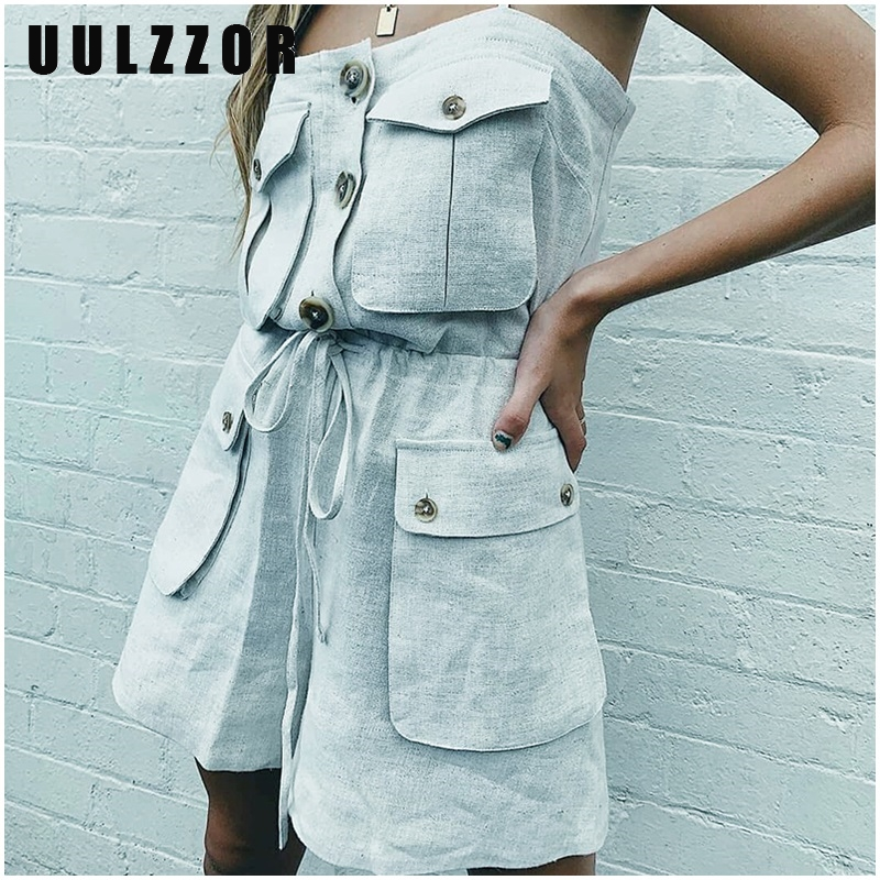 UULZZOR Jumpsuit For Women Strap Jumpsuit Summer Romper Pockets Lace Up Button Short Jumpsuit Vintage Loose Overall Solid