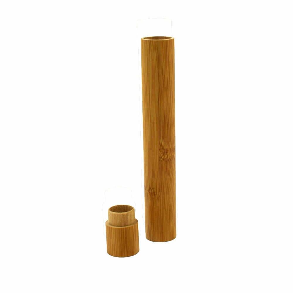 Organizer แบบพกพาแปรงสีฟันไม้ไผ่ธรรมชาติกรณี Tube สำหรับเดินทาง Eco Friendly Hand Made 22 เซนติเมตรกล่องไม้สร้างสรรค์