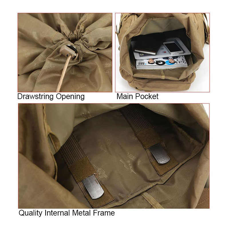 60L Luar Ruangan Kapasitas Besar Ransel Taktis Molle Tentara Ransel Pria Militer Ransel Pendakian Hiking Perjalanan Ransel Mochila