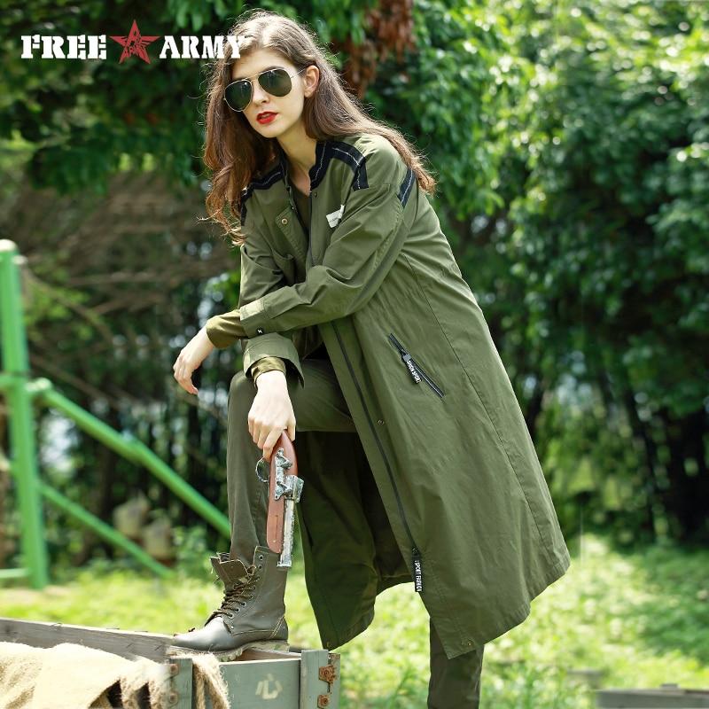FreeArmy Women Autumn Long Trench Coat Oversize Military Green Drawstring Waist Windbreaker Women's Coats Casual Female Outwear