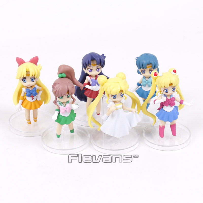 Sailor Moon Tsukino Usagi Serenity Sailor Venus Jupiter Mercury Mars PVC Figures Collectible Model Toys 6pcs/set ...