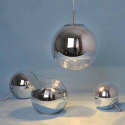 Loft przemysłowe piłka srebrny galwaniczną szkła sztuki lampa wisząca kawiarnia Cafe Bar jadalnia pokój hali sposób klub