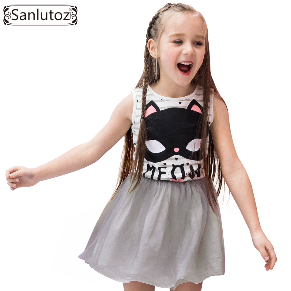 Sanlutoz Tutu Girl Dress Stripe Costume for Kids Cat Cartoon Summer Princess Birthday Party Dresses Brand Toddler 2017 summer teenage girl children birthday party veil dress costume for toddler girl kids clothing princess tutu dresses dress