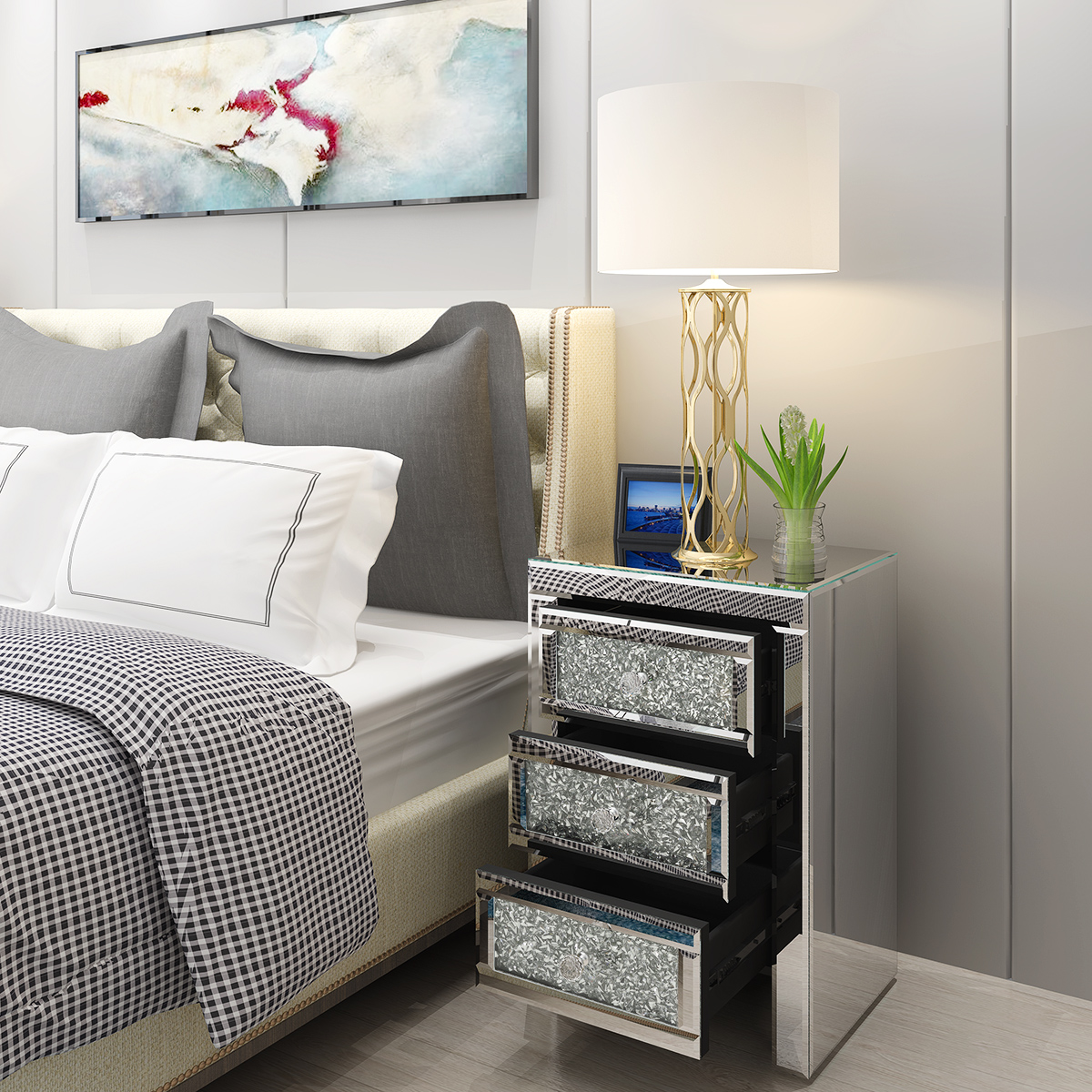 Panana Venetian Mirrored Glass Bedside Table With Drawers Glass Handles Mirror Bedroom Nightstand