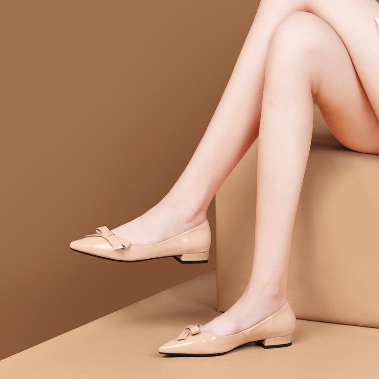 Confortable Femmes 2019 Doux Black Casual apricot Nœud Bout Chaussures Papillon Vache 42 Mljuese Taille Robe Appartements Parti Pointu Cuir En Printemps 4BOnnwx