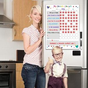 Image 2 - Pizarra blanca extraíble para nevera planificador semanal, pizarra magnética para limpiar en seco, calendario, tabla de recompensas para niños, papelería escolar para el hogar