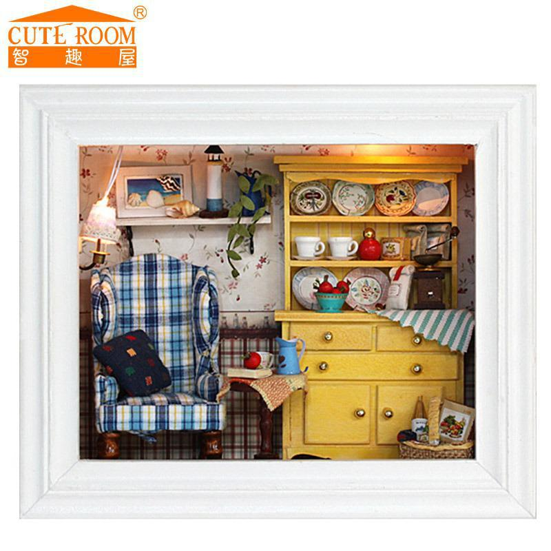 2016 sale new home decoration crafts diy doll house wooden houses miniature dollhouse furniture kit room cheap wooden dollhouse furniture
