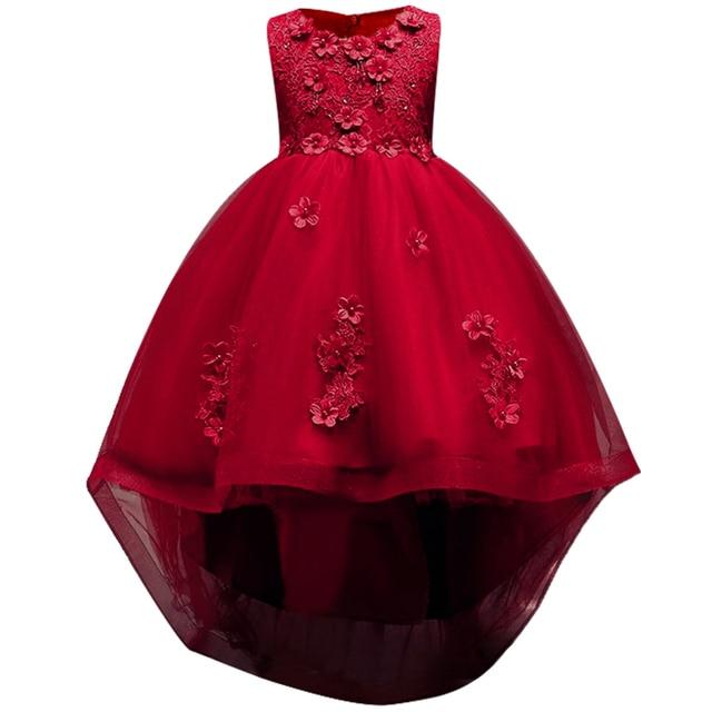 Rosa menina dama de honra casamento romântico vestido de festa elegante menina vestir se para participar da bola a refeição sagrada a cauda applique