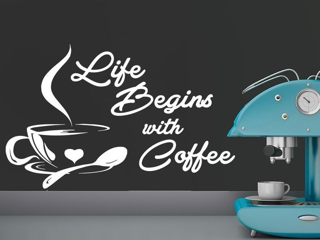 Life Begins With Coffee Letterings Cafe Coffee Vinyl Wall Decal Kitchen  Wall Sticker Coffee Shop Window