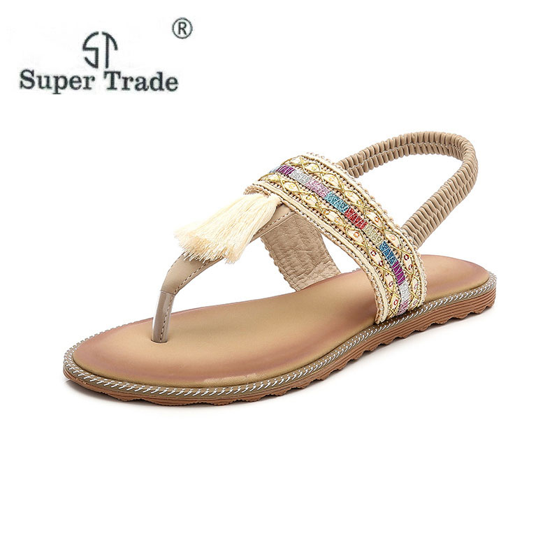 New Summer New Tassel Decoration Bohemian Roman Ethnic Female Sandals Casual Flat Shoes Women Sandals Size 35-41 Women Shoes gladiator women s sandals 2018 summer new casual shoes women s shoes european roman style zipper bag with flat women s sandals