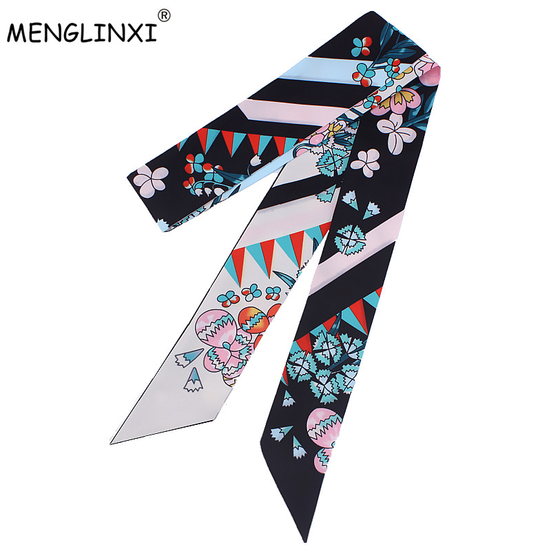New Design 120cm Floral Print Women Small Silk Scarf Luxury Brand Bag Ribbons Fashion Head Scarf Hot Sale Long Scarves