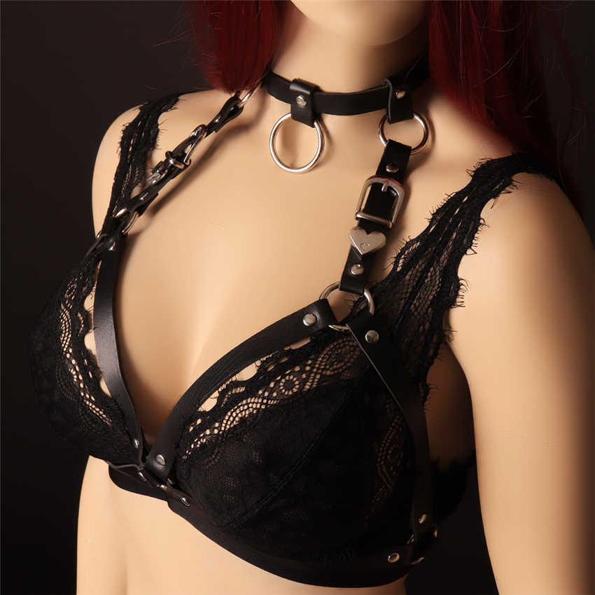 BODY BONDAGE Pu Lederen Harnas riem van Vrouwen Zwart Sexy Tops Kooi Beha BDSM Bondage Harnas Goth Pentagram Volledige Dance ondergoed