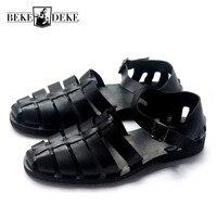 Классический натуральной кожи ручной работы удобные сандалии для Для мужчин Европа и Америка с черной пряжкой пляжная обувь плюс Размеры 45