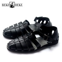 Classic Handmade Genuine Leather Comfortable Sandals for Men Europe and America Black Buckle Beach Shoes Plus Size 45 Slippers