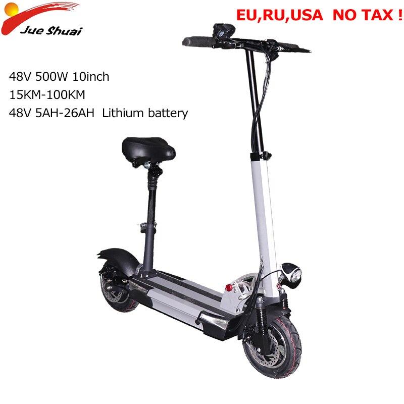 26A 48V 500W Scooter Elétrico 100KM 10 ''Motor Electrico Patinete Adulto Pontapé Dobrável e scooter Elétrico skate Hoverboard