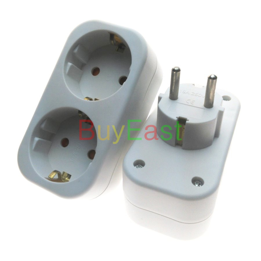 (1 PC) 2 Way Schuko EU Russian German Extension Power Strip Plug Splitter Max 250V 16A 16a ac 250v ip54 german type cee 7 4 schuko socket adapter connector