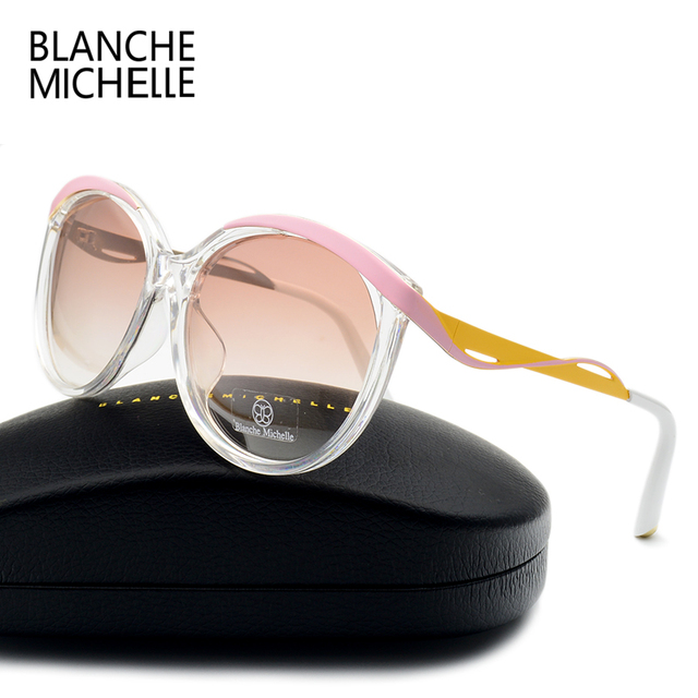 Blanche Cat eye Polarized Sunglasses Women Pink Frame Sun Glasses Brand Designer Female Ladies Shades Sunglass Eyewear With Box