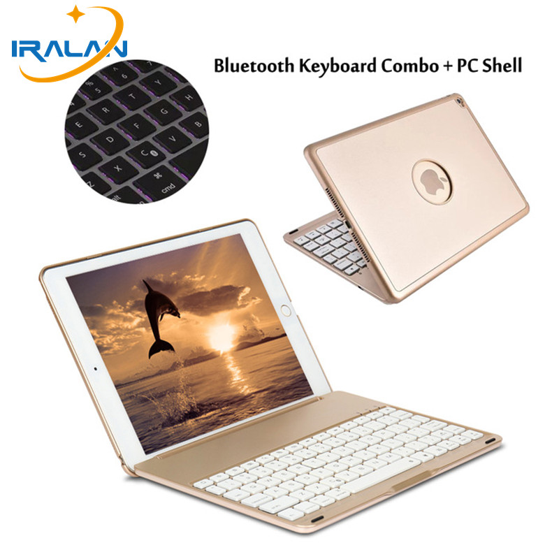 New arrival 7 Colors Backlit Light Wireless Bluetooth Keyboard Case Cover For iPad 9.7 New 2017 A1822 A1823 + Film + Stylus gift