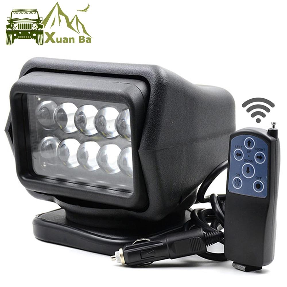 все цены на XuanBa 7 Inch 50W Led Remote Control Light Wireless magnets Search Light Camp Hunting Fishing Boat Marine 4x4 Offroad Work Lamps онлайн