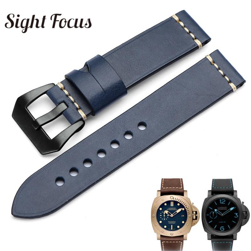 Handmade Italian Calfskin Watch Bands For Panerai Navy Watch Belts Watchband 20 22 24 26mm Leather Strap Men Sewn-in Tang Buckle