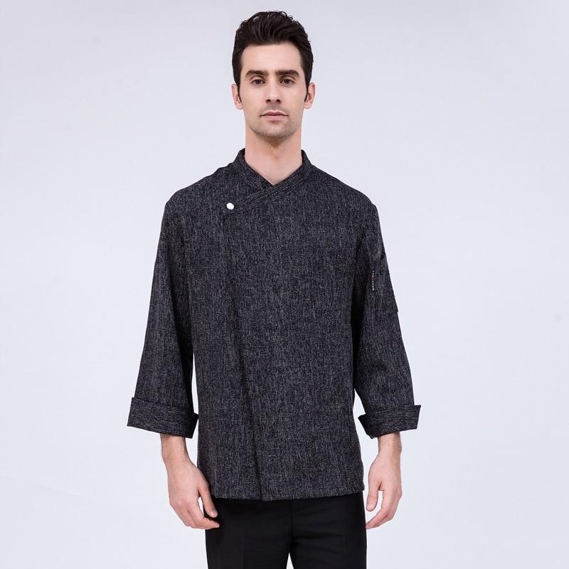 Long Sleeve Chef Jacket Adult Kitchen Black Overalls Chef Uniformbaking Pastry Cook Coat Short Sleeve Men's Work Clothes B-6520