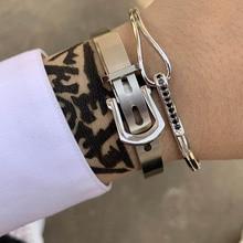 Luxury Brand Gold/Silver/black men Couple lover zircon adjustable Open Drop Cuff bracelets bangles for women viking jewelry