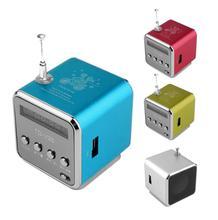 Mini alto falante portátil com rádio fm, reprodutor de música com mp3/4 baixo estéreo com cartão sd tf e sem fio, bluetooth função de função