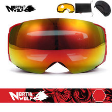 North Wolf 522 Brand Designer Sport Ski Goggles with Interchange Nightview Lens Anti-fog Super Wide View Snowboard Goggles