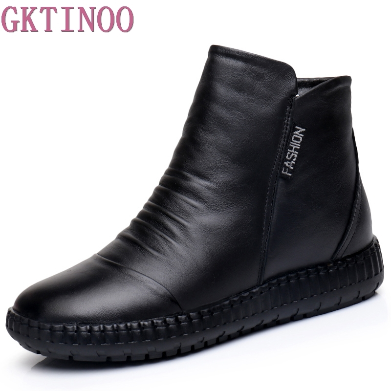 New 2019 Autumn Fashion Women Genuine Leather Boots Handmade Vintage Flat Ankle Botines Shoes Woman Winter botas(China)