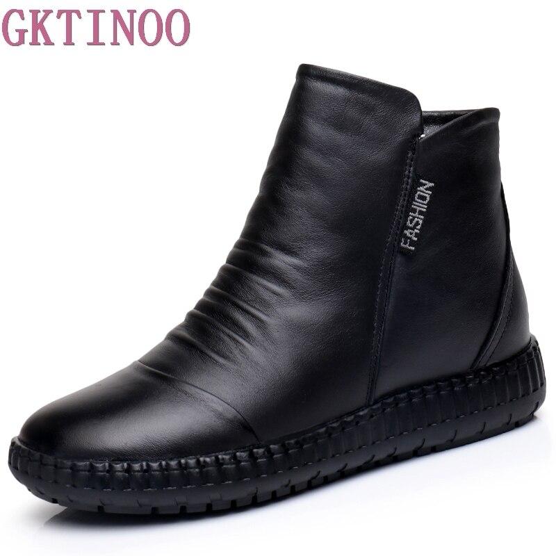 Nouveau 2019 automne mode femmes en cuir véritable bottes à la main Vintage plat cheville Botines chaussures femme hiver botas