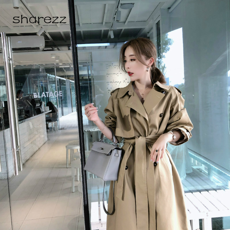 2019 New Casual Windbreaker Female Long Section Korean Spring Autumn Double-breasted Belt   Trench   Coats for Women