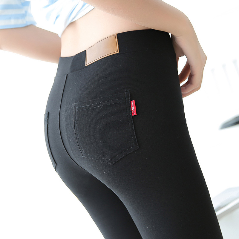 Danjeaner Newest S-3XL Plus Size Women Mid Waist Black Leggings Supper Elastic Ankle-Length Winter Pencil Pants Push Up Leggings