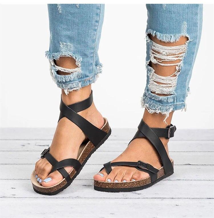 HTB1r55NbcvrK1Rjy0Feq6ATmVXaW Basic Women Sandals 2019 New Women Summer Sandals Plus Size 43 Leather Flat Sandals Female Flip Flop Casual Beach Shoes Ladies