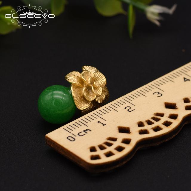 GLSEEVO 925 Sterling Silver Ear Pin Natural Round Jade Drop Earrings For Women Plant Leaves Wedding Earrings Jewellery GE0336B