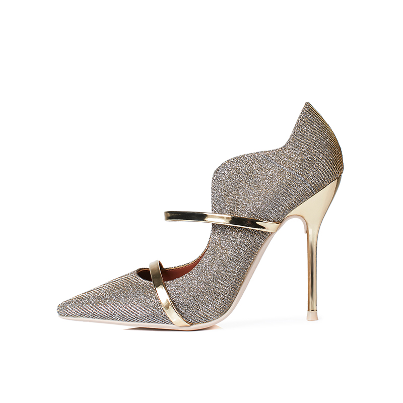 2018 Spring Autumn Gold Bing Bling Glitter Pumps For Women Pointed Toe Metal Decoration Lady Dress Shoes Bride Heels Pumps gold sliver shoes woman for 2016 new spring glitter bling pointed toe flats women shoes for summer size plus 35 40 xwd1841