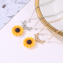 2019 Newest Delicate Sunflower Pendant Necklace For Women Creative Imitation Pearls Jewelry Necklace Pedant  Accessories WD92 delicate turquoise bowknot geometric pendant necklace for women