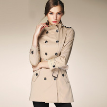 Famous Brand Burderry Trench Coat For Women 2017 Spring Autumn Double Breasted Medium Long overcoat women