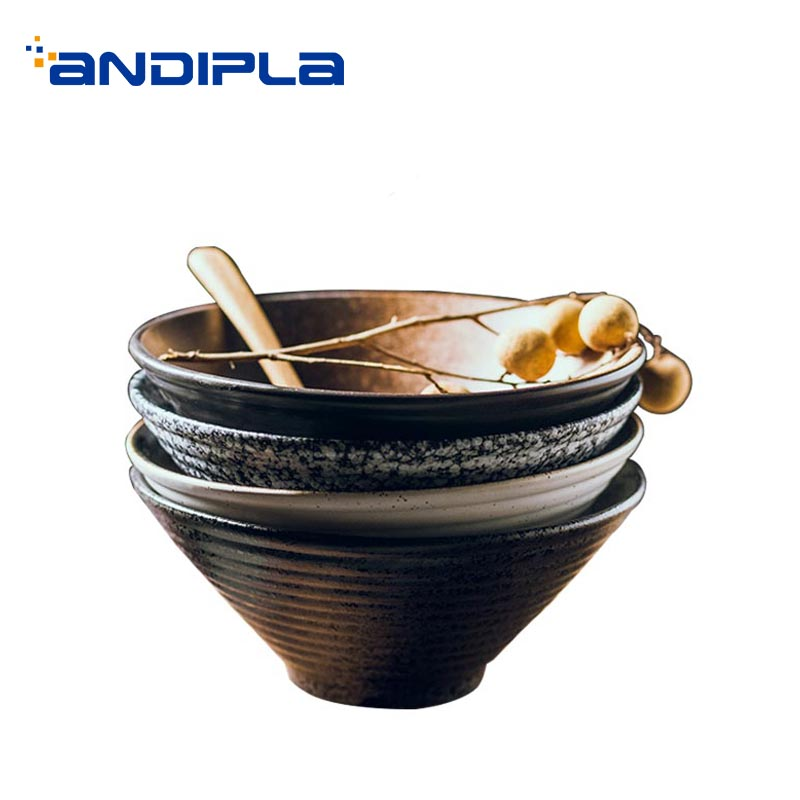 Japanese style Ceramic Bowl Vintage Dinnerware Tableware / Food Container Hand Pulled Noodle Soup Bowl Breakfast Porridge Holder