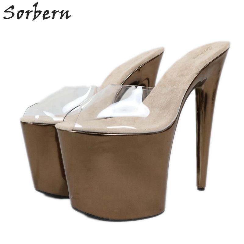 Sorbern 20Cm Extreme High Heel Slippers Women Slip On Metallic Slides Transparent Pvc Open Toe Summer Shoes Custom Colors - 6