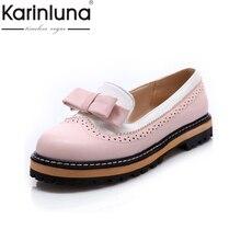 Karinluna/Большие размеры 34–43 Демисезонный слипоны женская обувь на плоской подошве с милым бантиком Кружева с открытым носком женская обувь на платформе