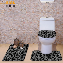 FORUDESIGNS Skull Printed Decorations Non-slip Toilet Seat Washroom Set Santa Decorative Toilet Seat Covers Lids and Rug Set