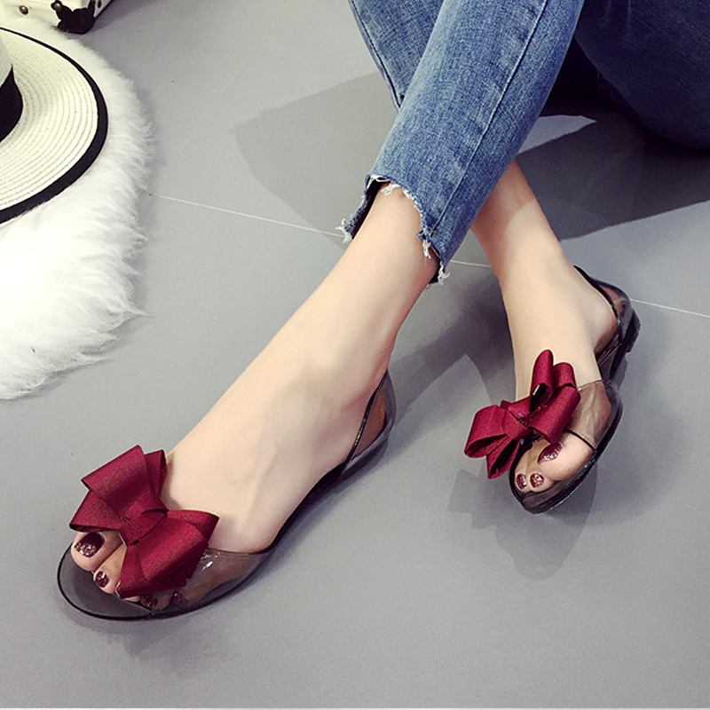 2017 Summer Crystal Jelly Shoes Female Sweet Open Toe Flat Heel Casual Beach Sandals Women Shoes Jelly Flats With Bow OR914830 2016 fashion summer women flat beaded bohemia ppen toe flat heel sweet women students beach sandals o643