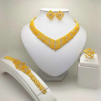 Kingdom Ma Dubai  Bridal Big Jewelry Sets Nigerian Wedding African  Necklace Bracelet Earring Ring Jewelry Set - DISCOUNT ITEM  44% OFF All Category