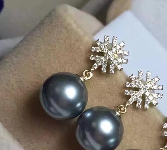Free shipping 1 pair of huge AAA+10-11mm round south sea white pearl earring 925silver