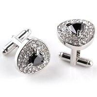 Abotoaduras de luxo para homens e mulheres zircão preto roxo branco cristal marca moda manguito botton alta qualidade