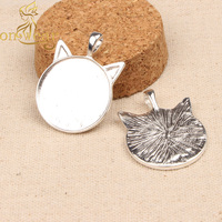 20pcs Cat Ear Pendant Cabochon Base Settings 25mm Round Silver Plated Blank Necklace Trays Diy Jewelry